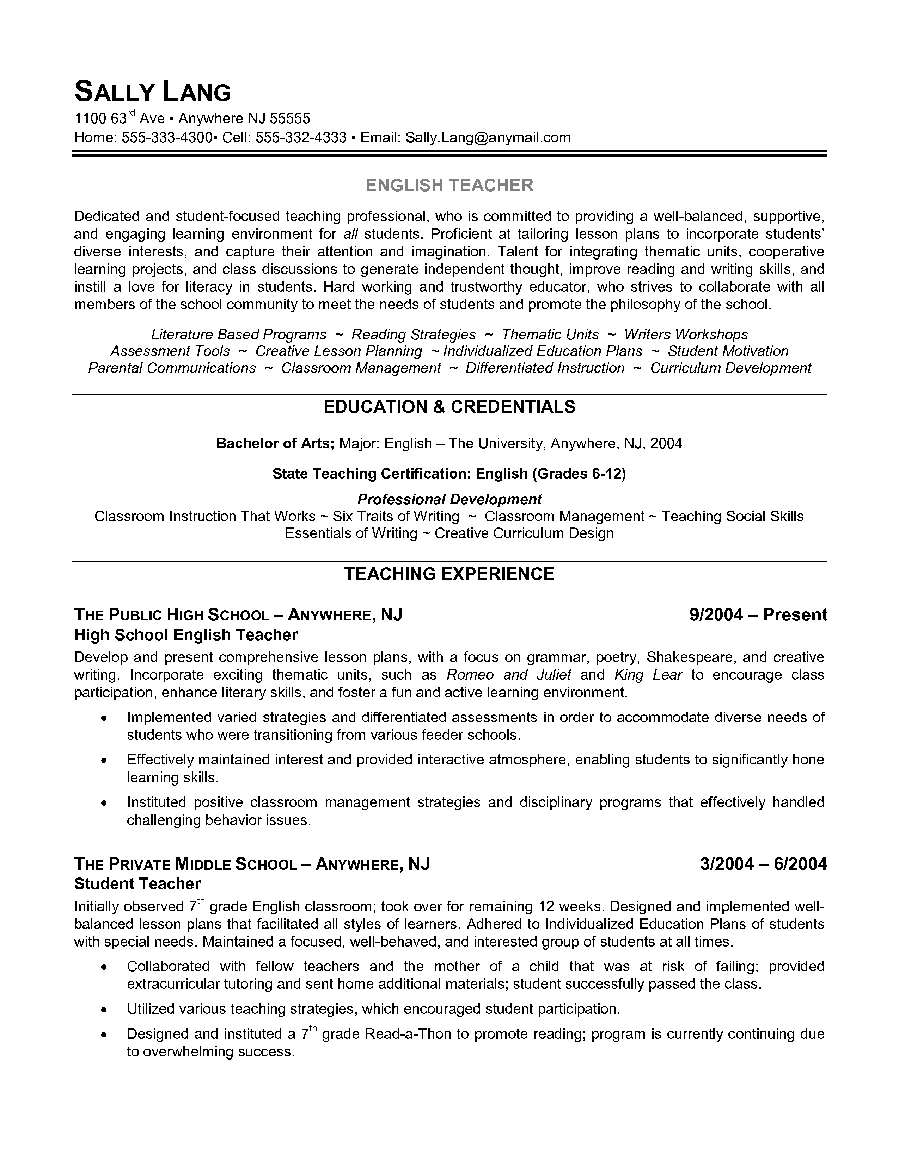 teachers resume free examples here are two examples of dynamic teaching resume examples that you a